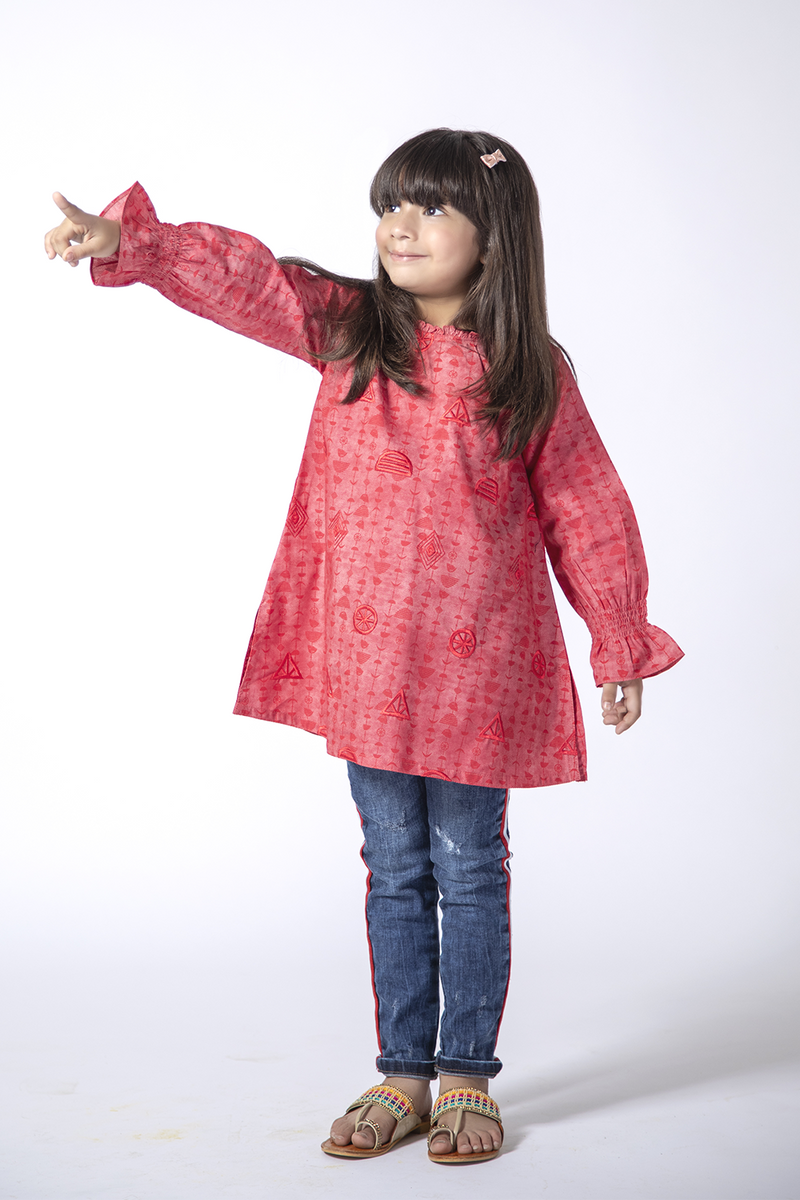 KAA-01373 | Red | Casual Kurta | Cotton Denim Print