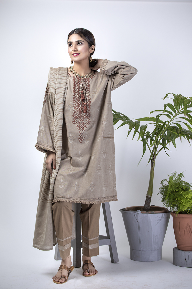 LBD-01390 | Fawn | Casual Plus 3 Piece Suit  | Cotton Jacquard with Shawl