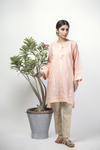 LAA-01321 | Peach | Casual Kurta | Cotton Cambric Jacquard