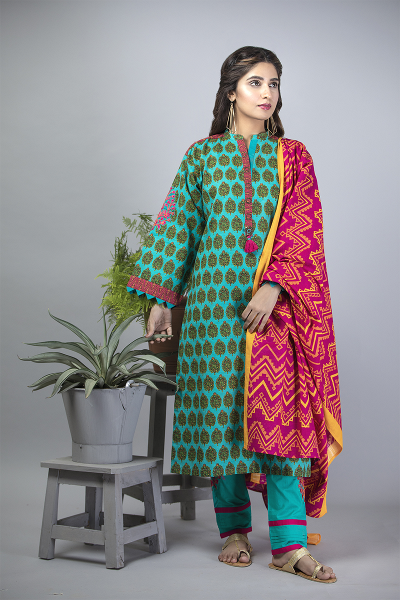 LAD-01385 | Sea Green & Shocking Pink | Casual 3 Piece Suit  | Cotton Khaddar Print