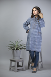 LAA-01401 | Blue | Casual Kurta | Cotton Denim Print