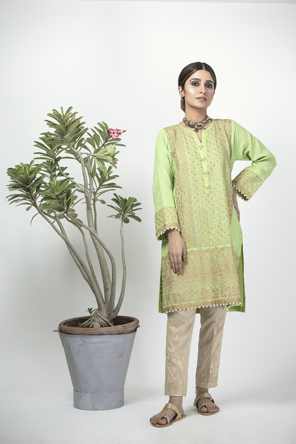 LAA-01326 | Light Green | Casual Kurta | Cotton Cambric Jacquard