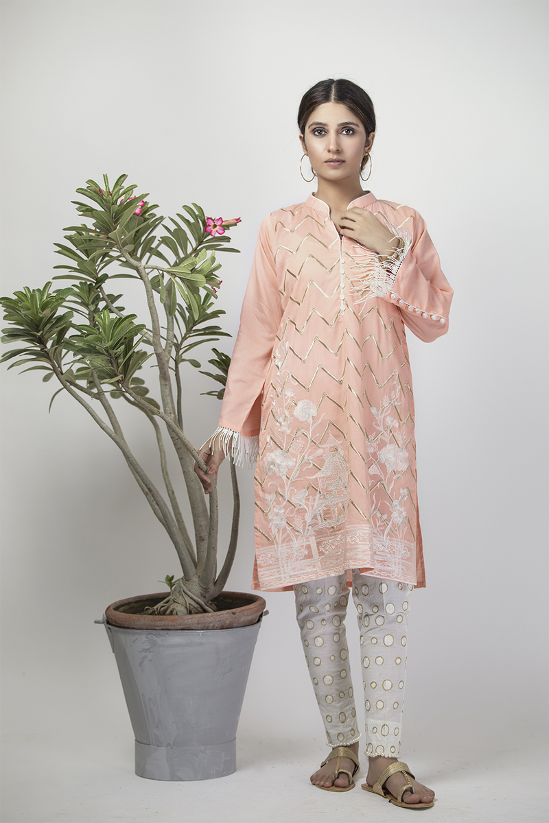 LAA-01322 | Peach | Casual Kurta | Cotton Cambric Jacquard