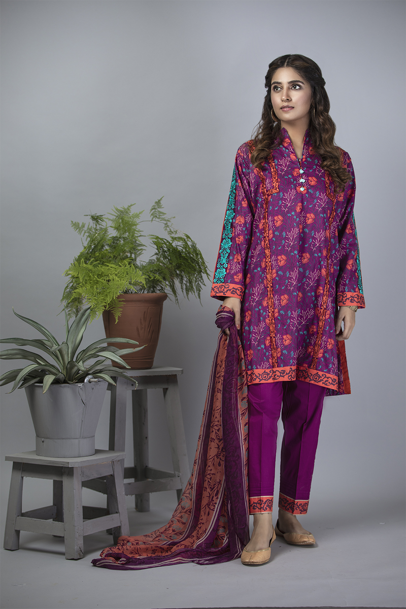 LAD-01187 | Magenta | Casual 3 Piece Suit  | Cotton Cambric Print