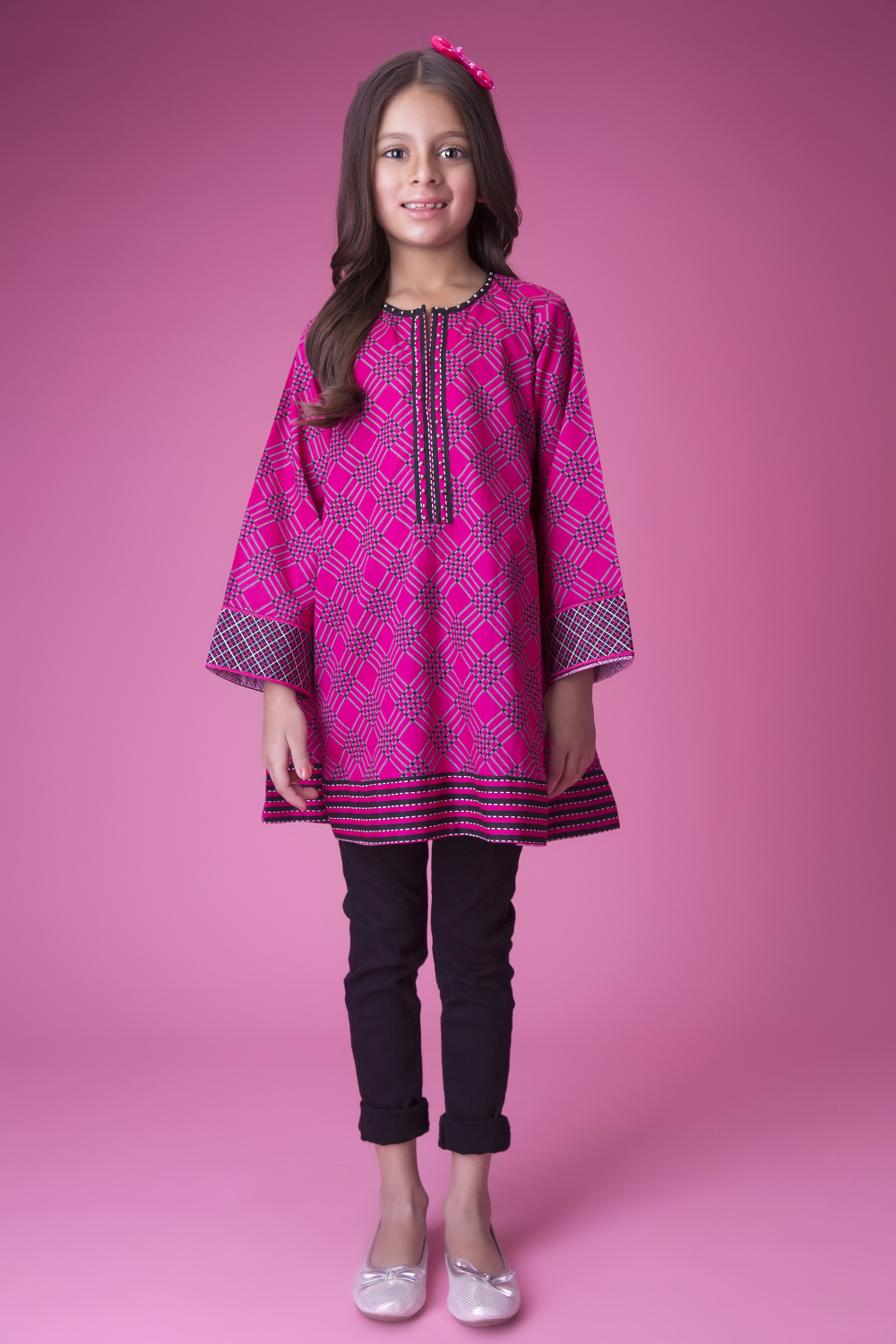 Kids Casual Kurta | Cotton Cambric Print | Shocking Pink | KAA-01428