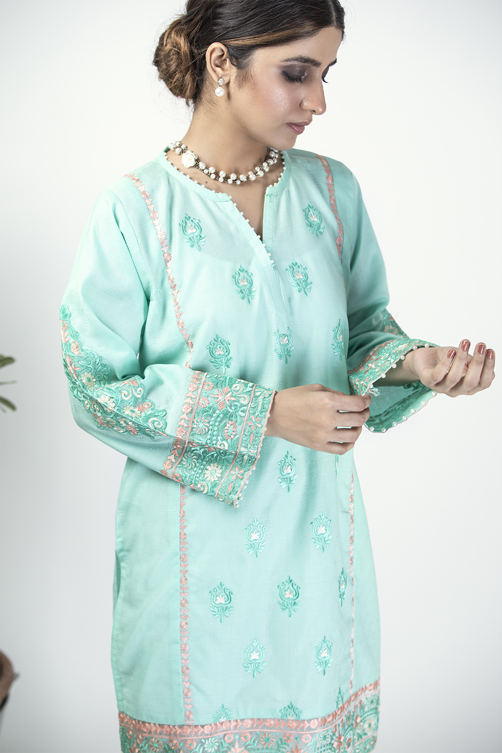 LAA-01324 | Sea Green | Casual Kurta | Cotton Cambric Jacquard