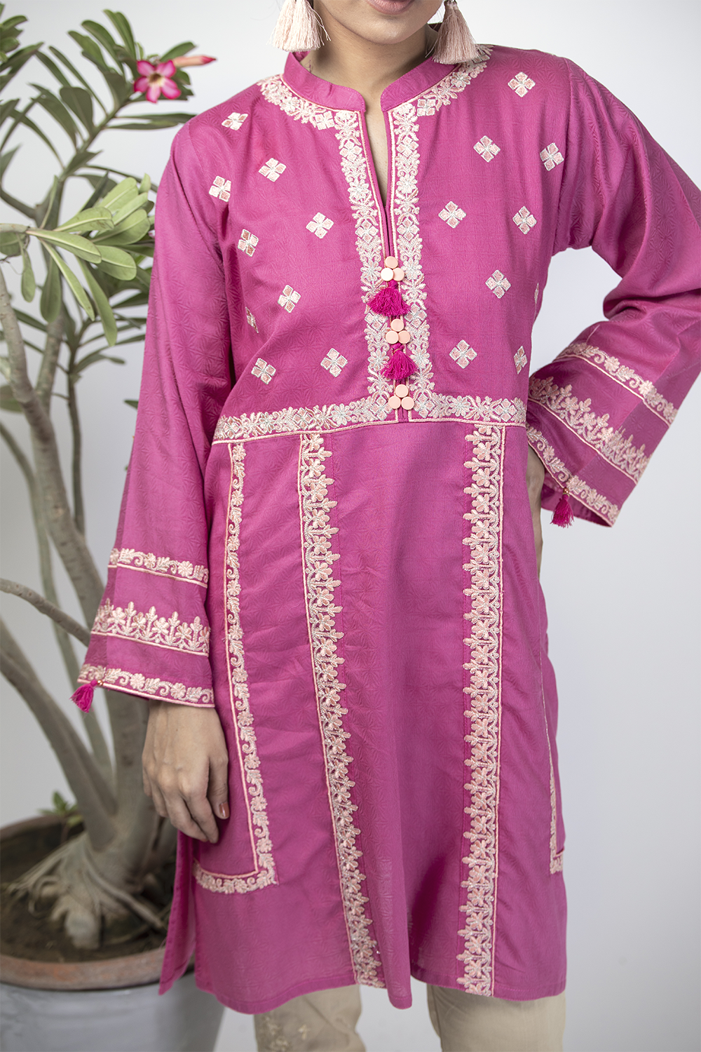 LAA-01328 | Purple | Casual Kurta | Cotton Cambric Jacquard