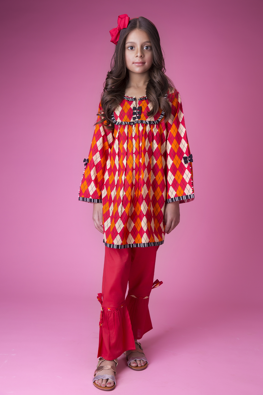 Kids Casual 2 Piece Suit | Cotton Cambric Print | Red | KAC-01425