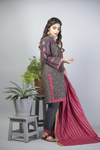 LAD-01386 | Grey & Tea Pink | Casual 3 Piece Suit  | Cotton Khaddar Print