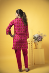 GAD-01351 | Shocking Pink | Casual 3 Piece Suit  | Cotton Cambric Print