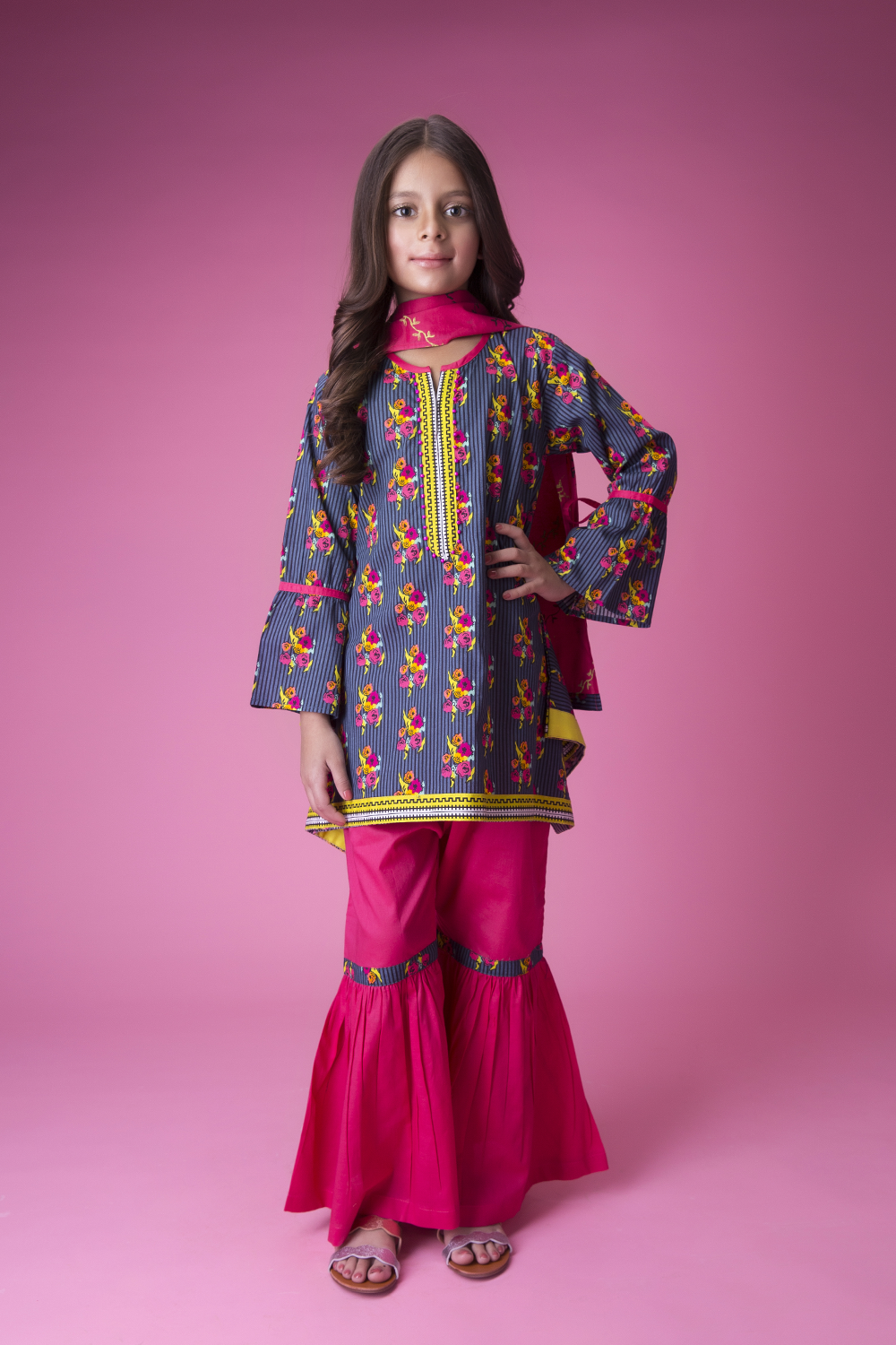 Kids Casual 3 Piece Suit | Cotton Cambric Print | Grey & Shocking Pink | KAD-01423