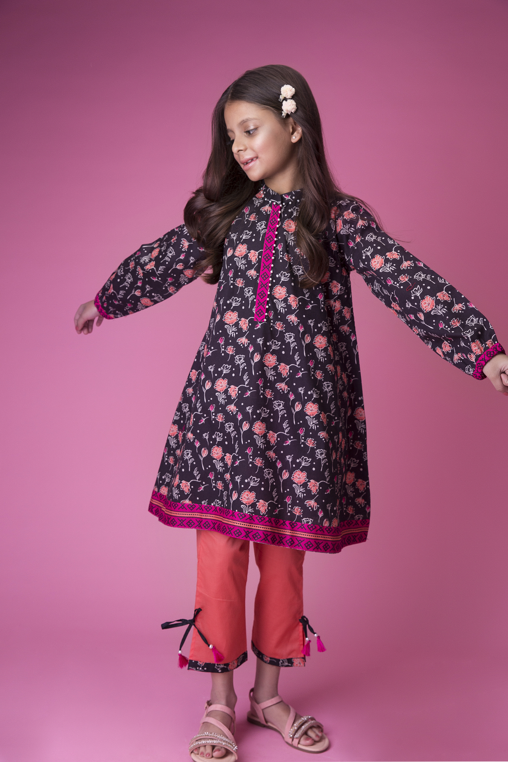 Kids Casual 3 Piece Suit | Cotton Cambric Print | Black & Peach | KAD-01424
