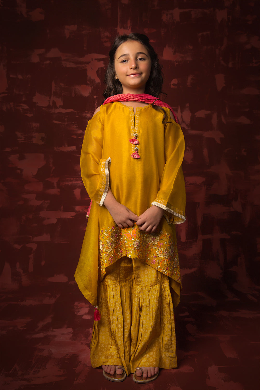 Kids Formal 3 Piece Suit | Banarsi Masuri | Mustard | KDD-01302