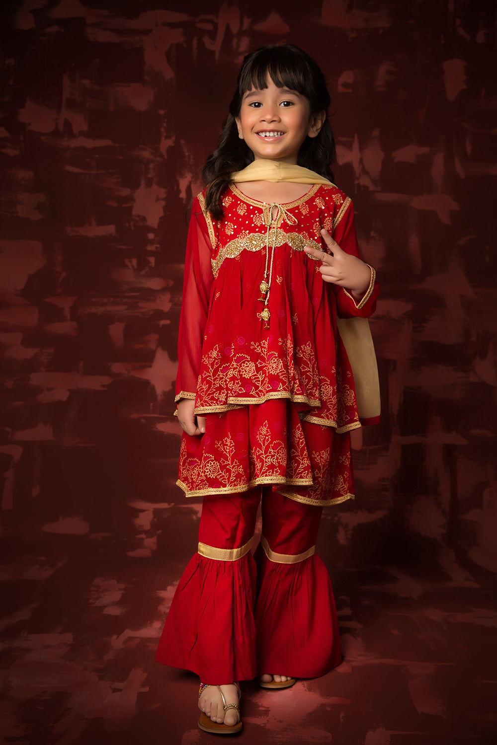 Kids Formal 3 Piece Suit | Polyester Chiffon | Red | KDD-00990