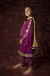 Kids Formal 3 Piece Suit | Polyester Crinkle | Purple | KDD-01316