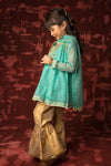 Kids Formal 3 Piece Suit | Banarsi Khaddi Net | Sea Green & Gold | KDD-01416