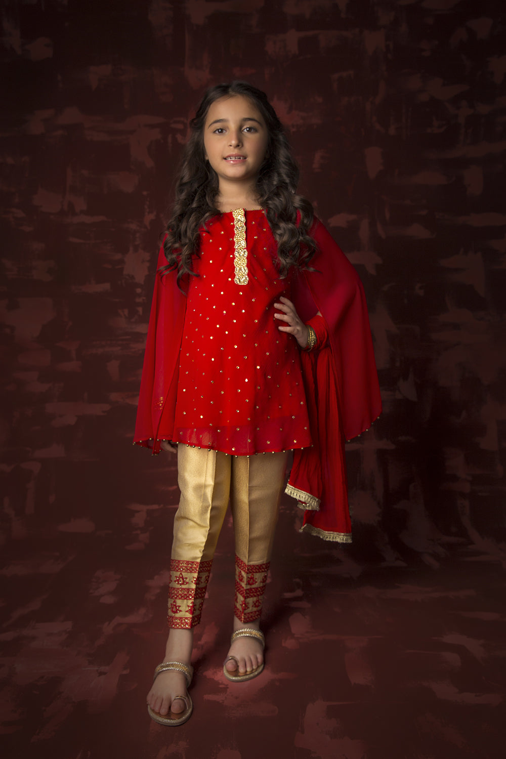 Kids Formal 3 Piece Suit | Polyester Crinkle | Red & Gold | KDD-01315