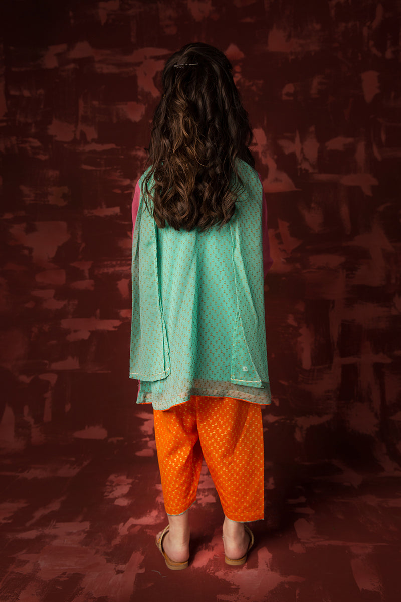 Kids Formal 3 Piece Suit | Polyester Chiffon | Pink & Sea Green | KDD-00992