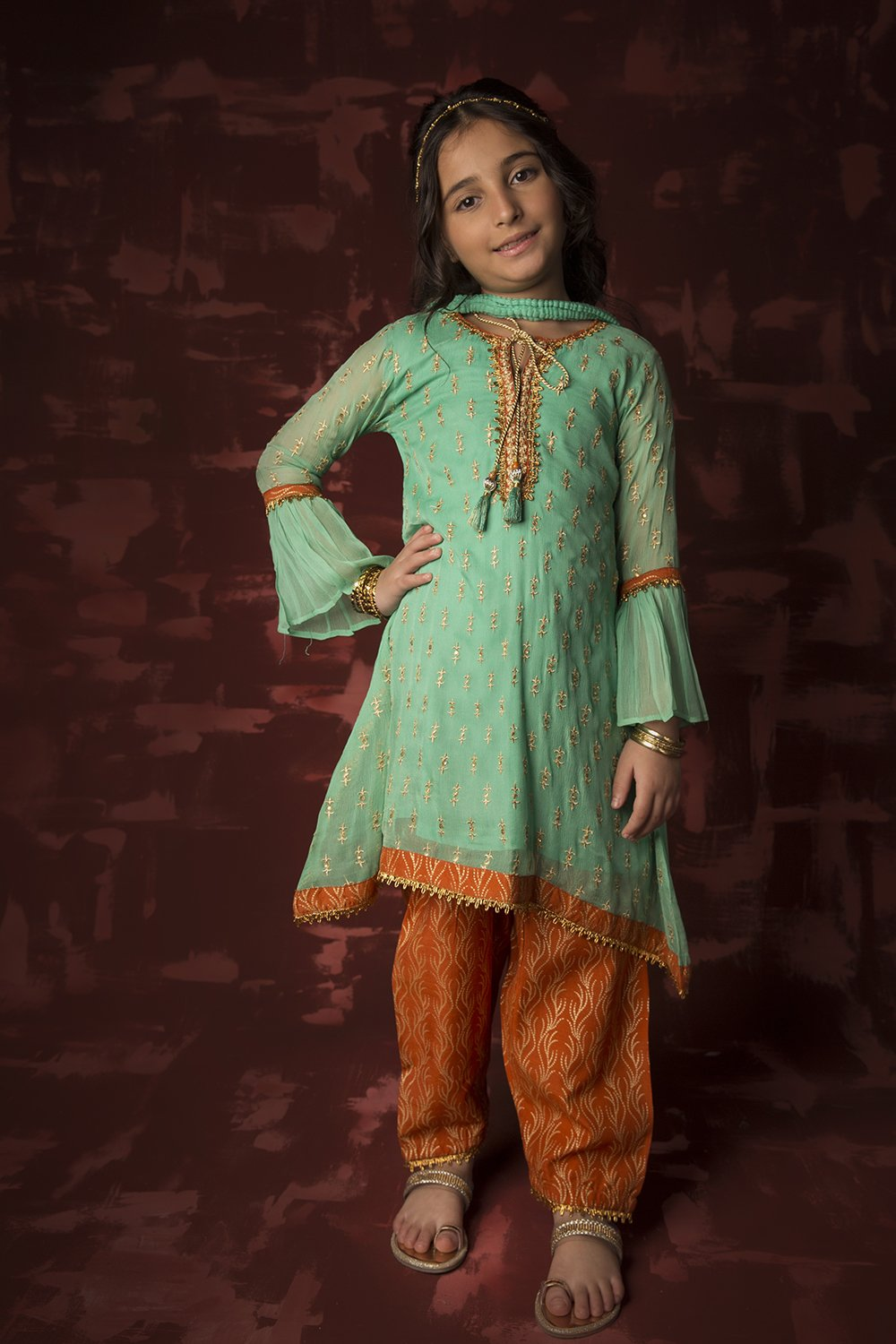 Kids Formal 3 Piece Suit | Polyester Crinkle | Sea Green & Orange | KDD-01317