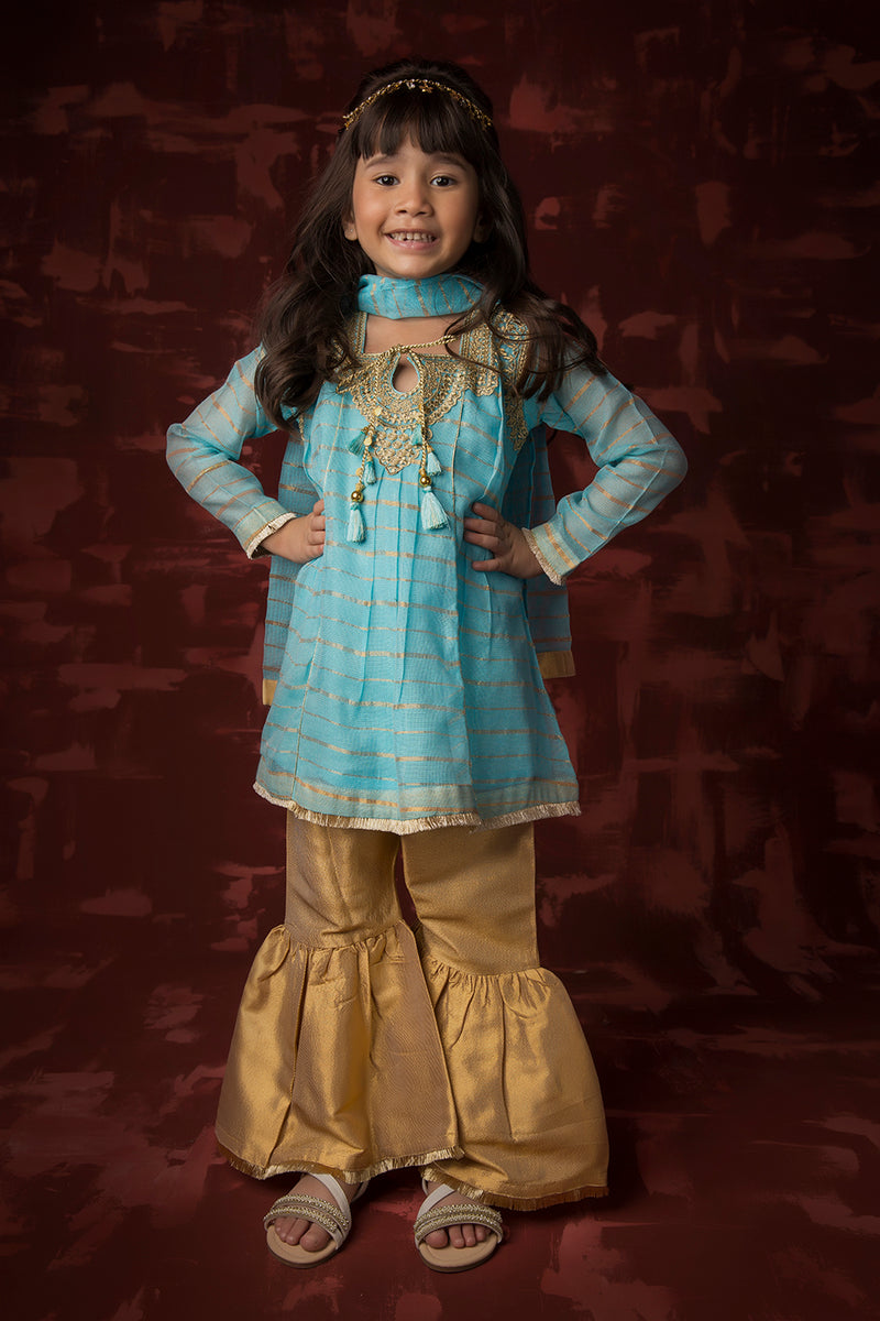 Kids Formal 3 Piece Suit | Banarsi Khaddi Net | Ferozi & Gold | KDD-01417