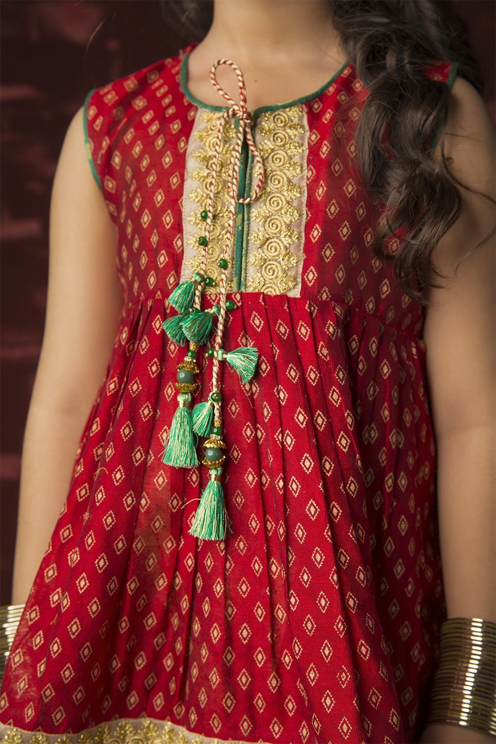 Kids Formal 3 Piece Suit | Banarsi Khaddi Net | Maroon & Gold | KDD-01303