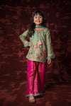 Kids Formal 3 Piece Suit | Banarsi Net | Pistachio & Shocking Pink | KDD-01042