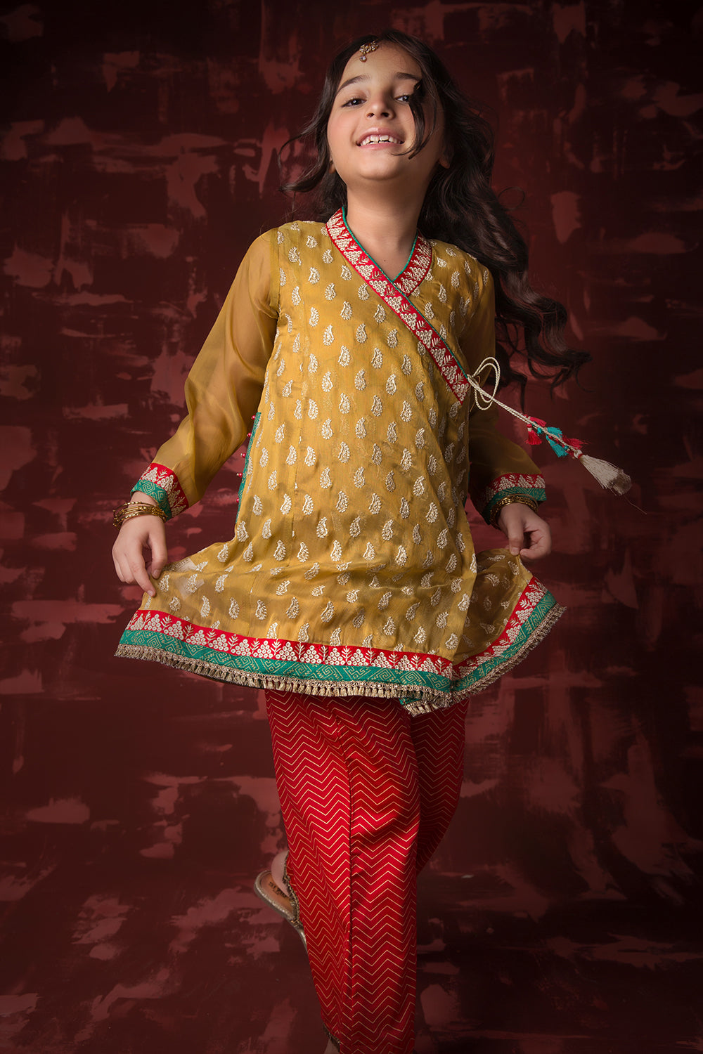 Kids Formal 3 Piece Suit | Banarsi Masuri | Fawn & Maroon | KDD-01135