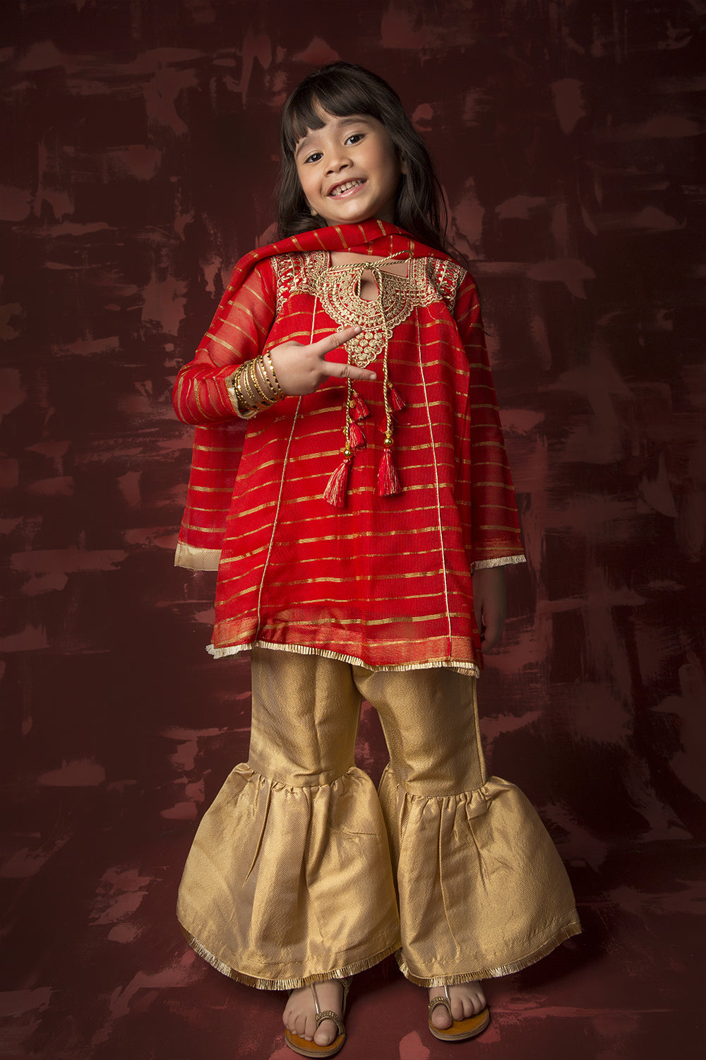 Kids Formal 3 Piece Suit | Banarsi Khaddi Net | Red & Gold | KDD-01318