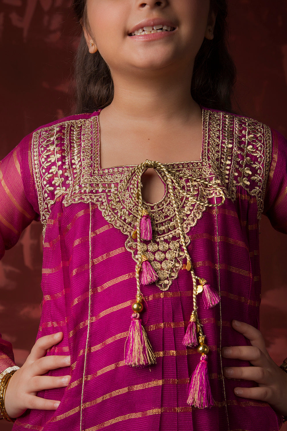 Kids Formal 3 Piece Suit | Banarsi Khaddi Net | Magenta & Gold | KDD-01418