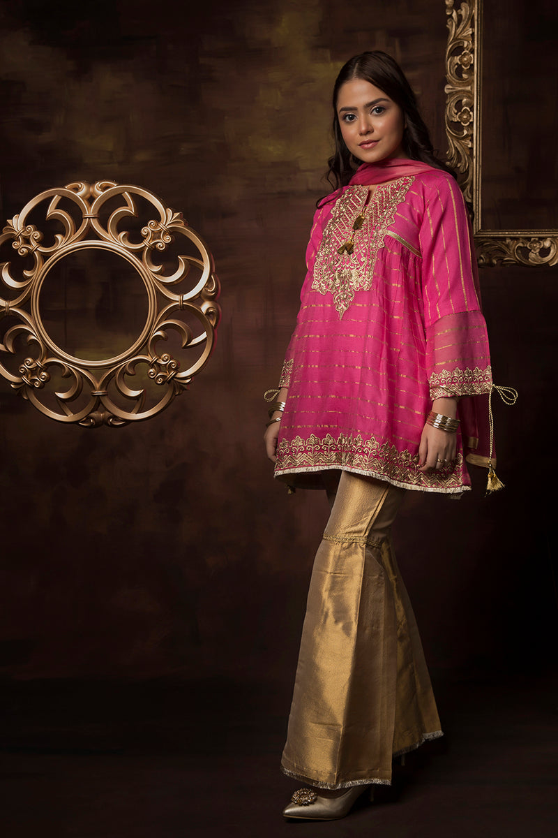 GDD-01413 | Shocking Pink | Formal 3 Piece Suit  | Banarsi Khaddi Net