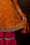 GDD-01029 | Orange & Shocking Pink | Formal 3 Piece Suit  | Banarsi Net