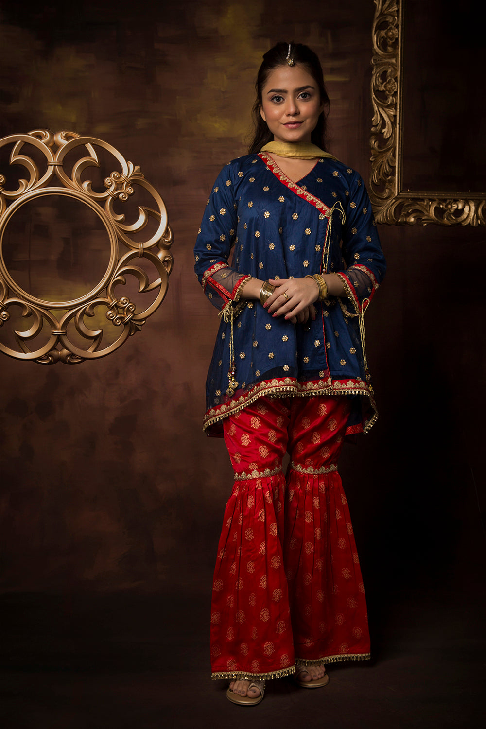 GDD-01139 | Navy Blue & Red | Formal 3 Piece Suit  | Polyester Net Cationic