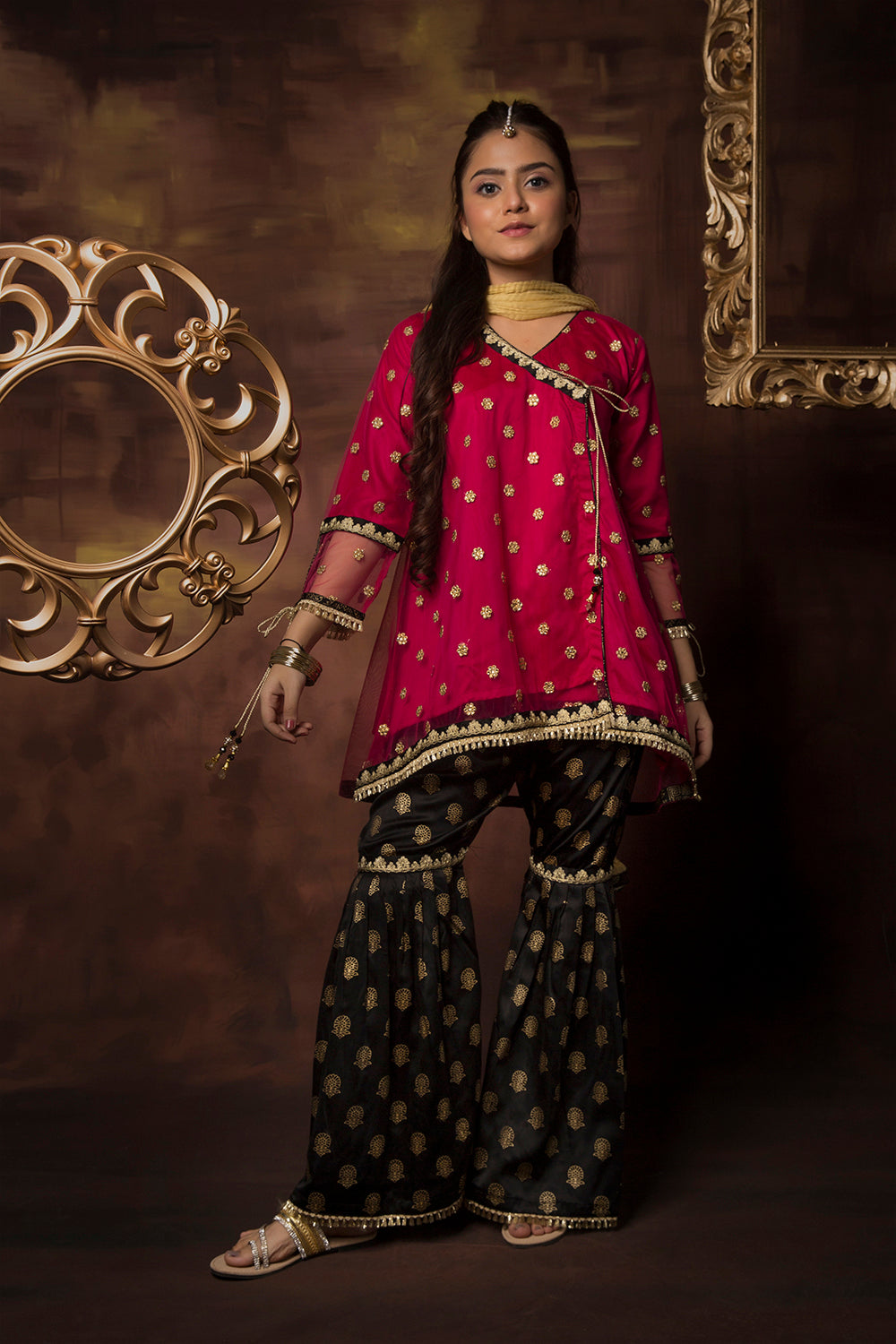 GDD-01412 | Shocking Pink & Black | Formal 3 Piece Suit  | Polyester Net Cationic