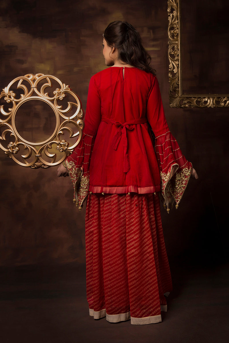 GDD-01411 | Red & Gold | Formal 3 Piece Suit  | Polyester Chiffon