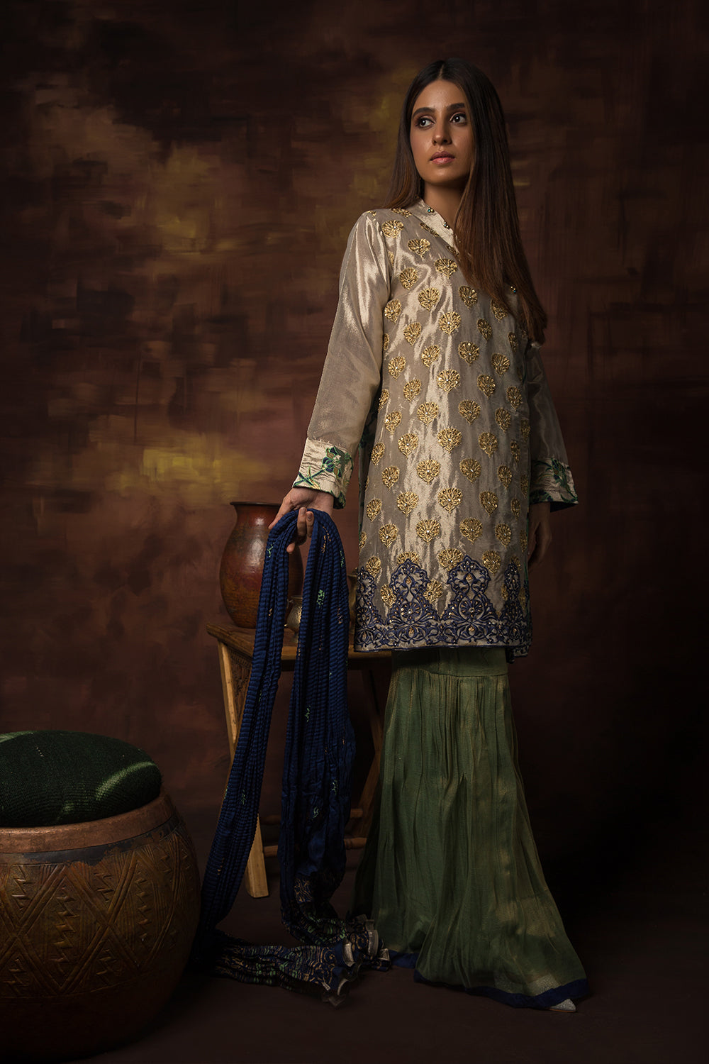 Ladies Formal 3 Piece Suit  | Banarsi Organza | Silver & Green | LDD-00911