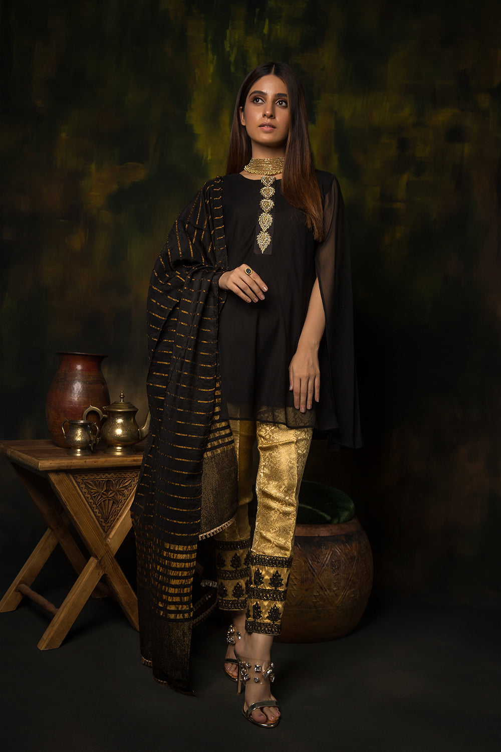 Ladies Formal 3 Piece Suit | Polyester Crinkle | Black & Gold | LDD-01314