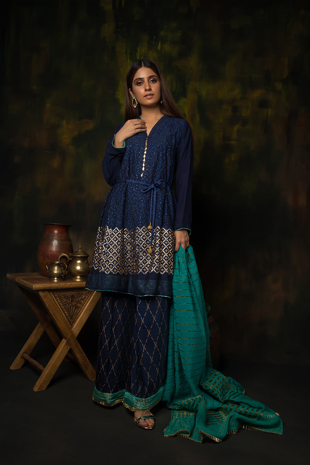 LDD-01313 | Navy Blue & Sea Green | Formal 3 Piece Suit  | Banarsi Khaddi Net