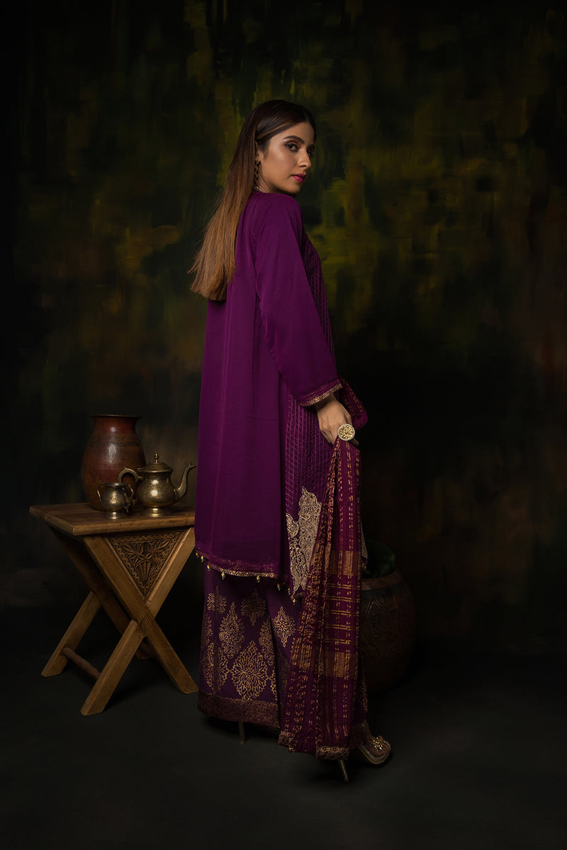 LDD-01312 | Purple | Formal 3 Piece Suit  | Polyester Crinkle
