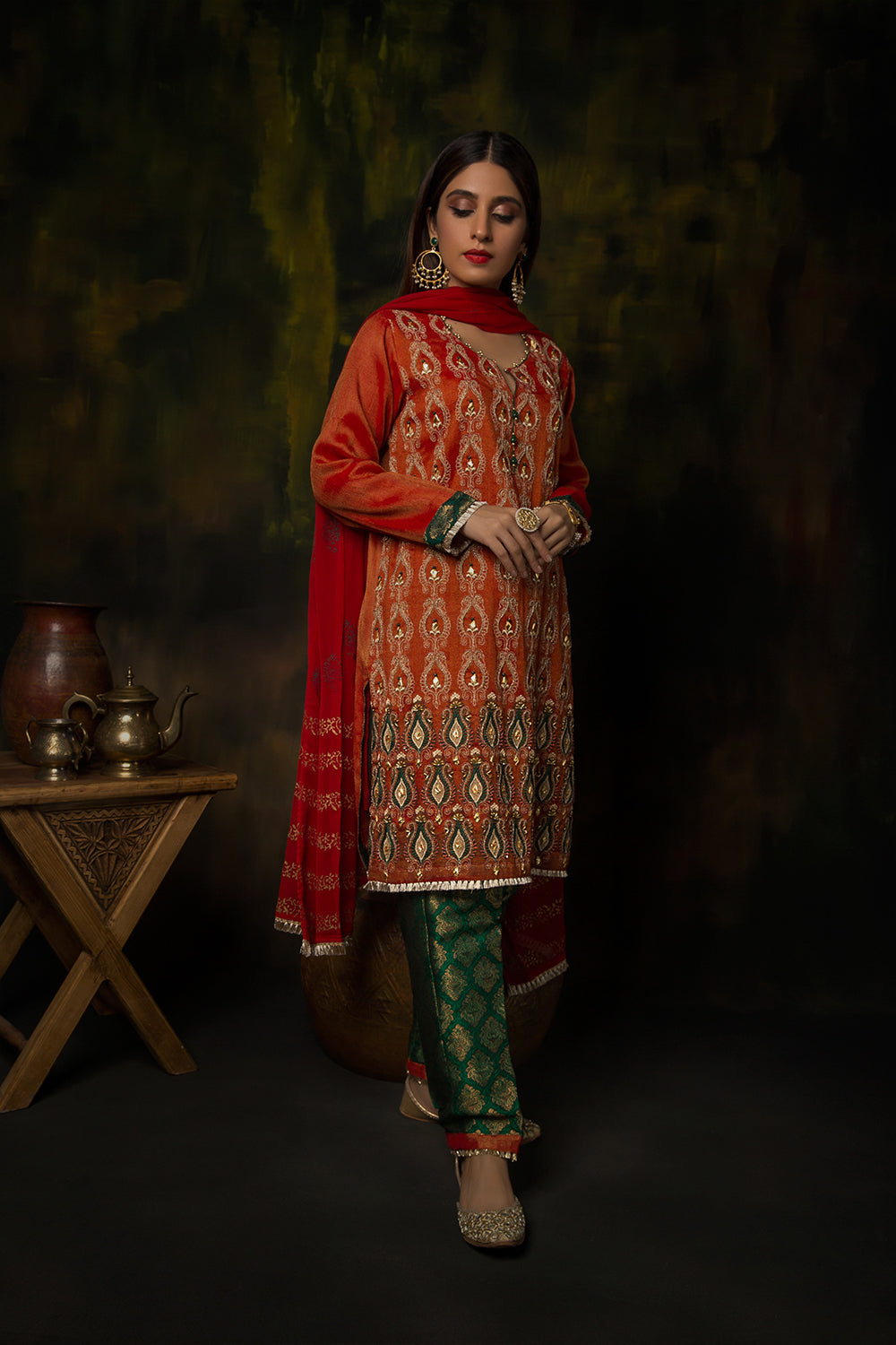 Ladies Formal 3 Piece Suit | Banarsi Khaddi Net | Orange & Green | LDD-01161