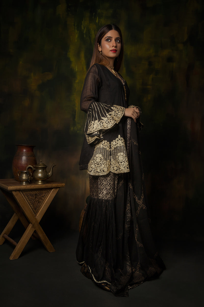 LDD-00909 | Black & Gold | Formal 3 Piece Suit | Banarsi | Net
