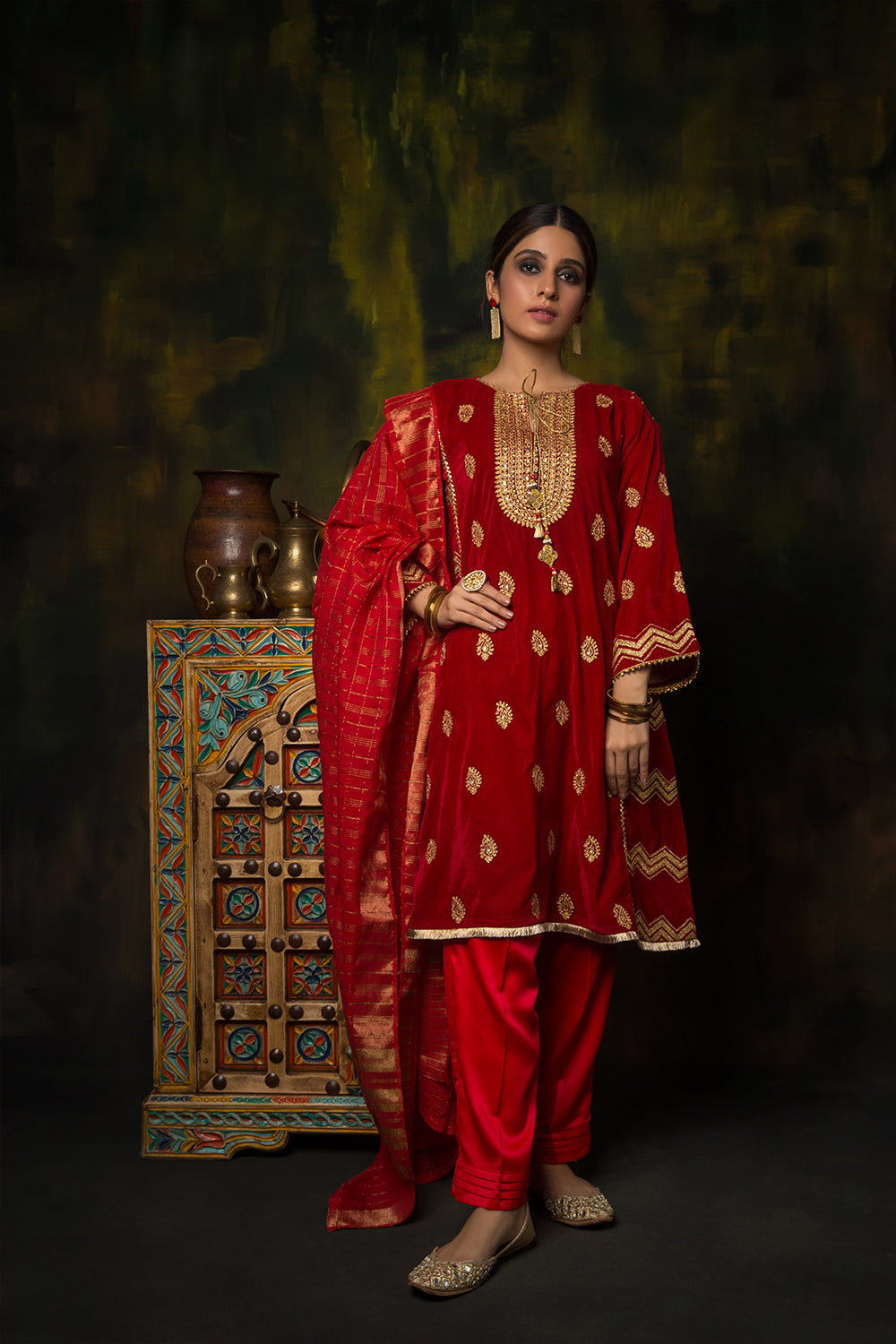 Ladies Formal 3 Piece Suit | Polyester Velvet Plain | Red | LDD-01378