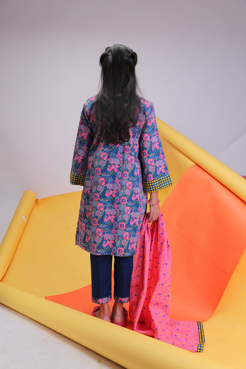 GAD-01480 | Blue & Pink | Casual 3pes Suit | Cotton Cambric Print