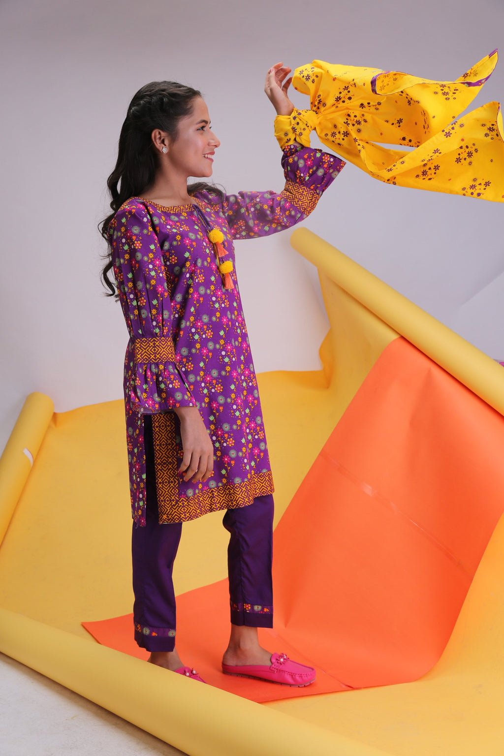Girls Casual 3 Piece Suit | Cotton Cambric Print | Purple & Mustard | GAD-01479