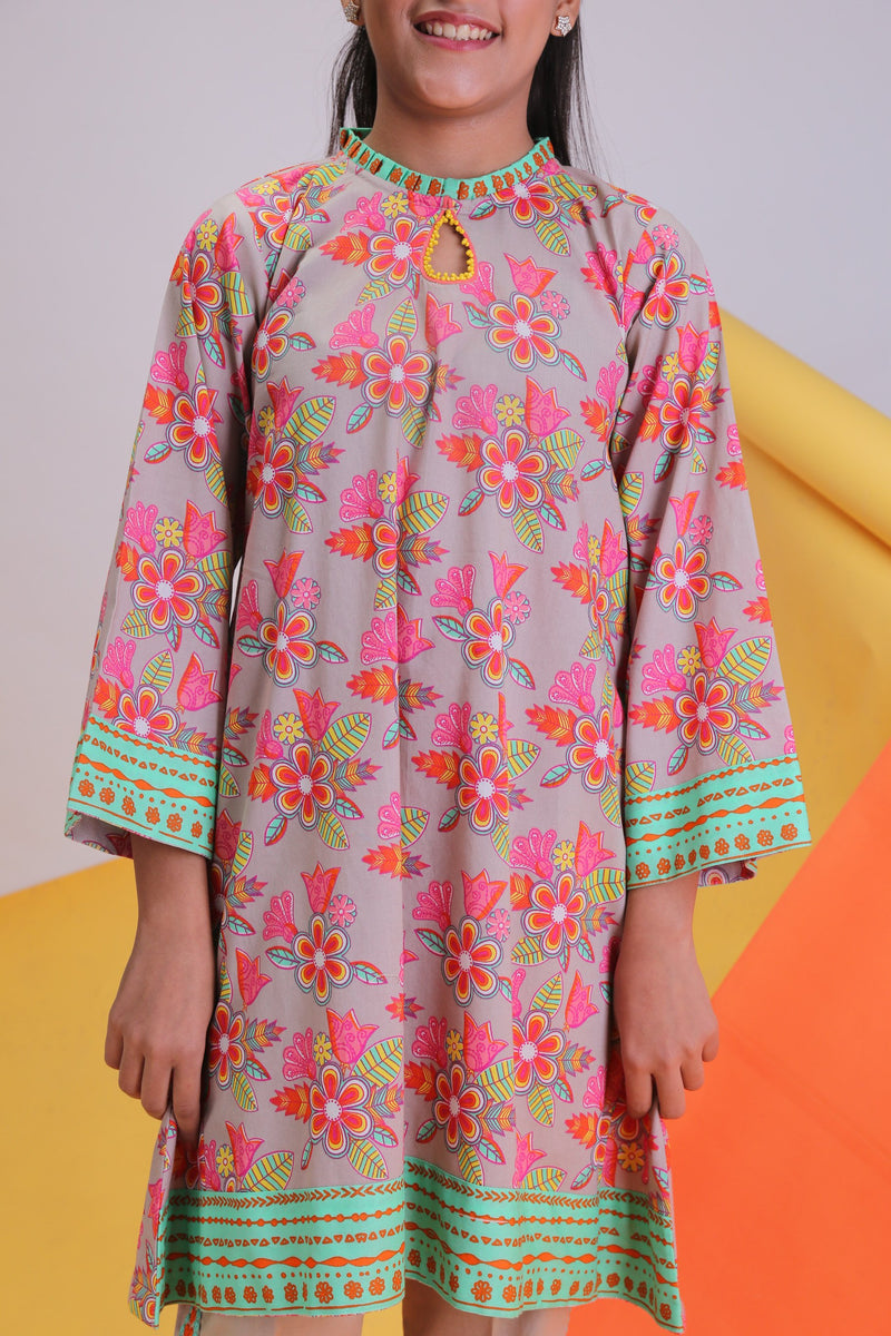 GAC-01481 | Beige | Girls Casual 2 Piece Suit | Cotton Cambric Print