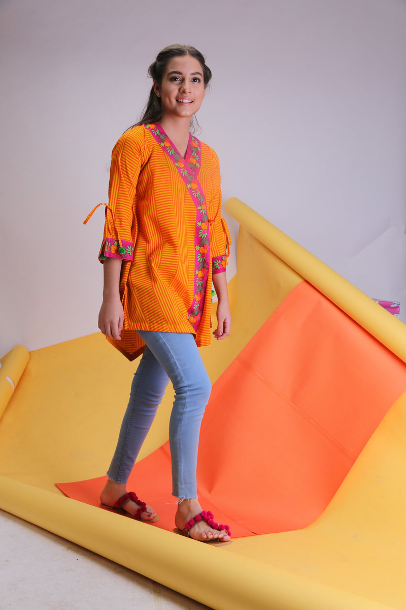 GAA-01507 | Mustard Yellow | Girls Casual Kurta | Cotton Cambric Print