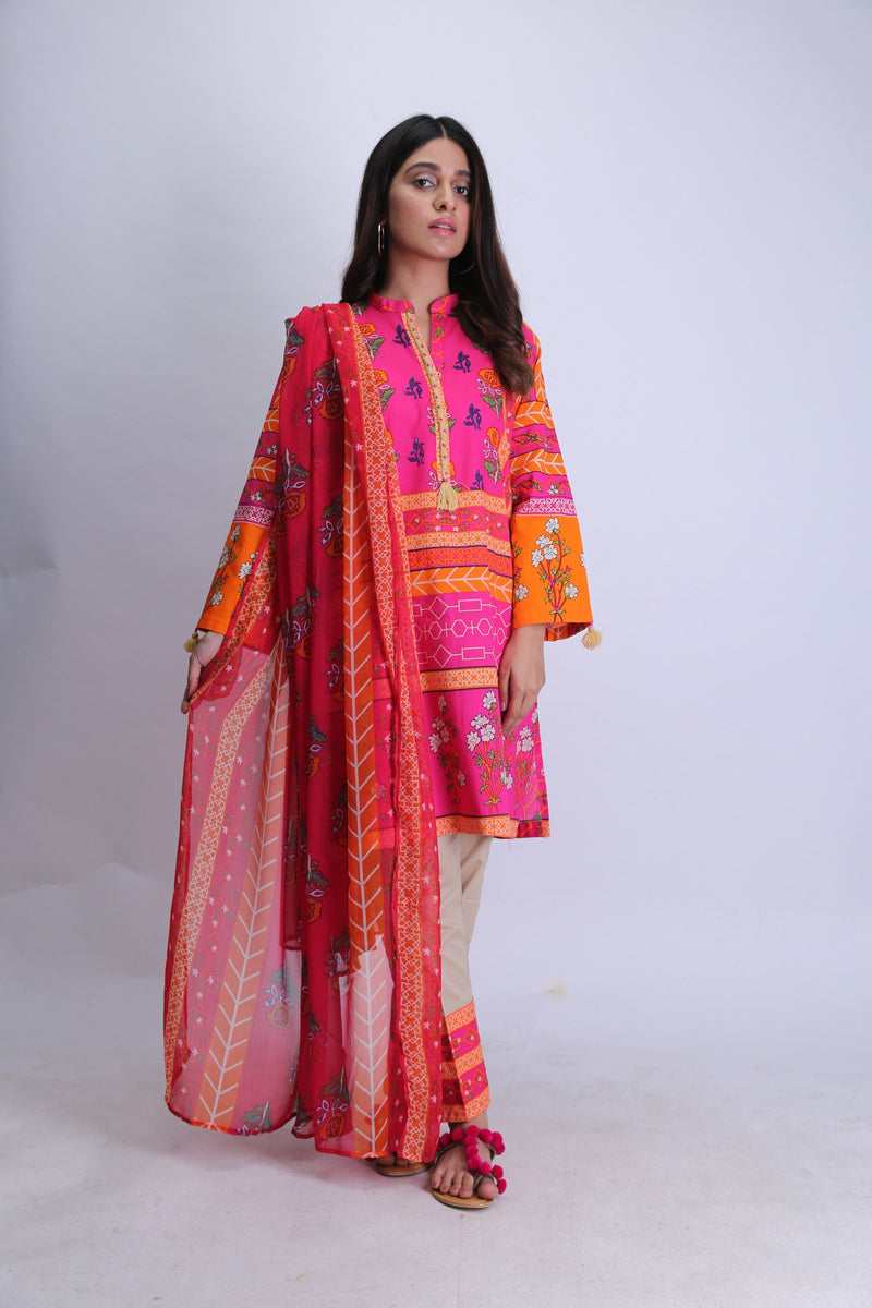 Ladies Casual 3 Piece Suit | Cotton Cambric Print | Shocking Pink | LAD-01478