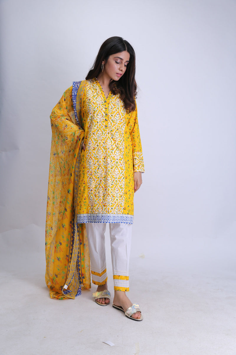 Ladies Casual 3 Piece Suit | Cotton Cambric Print | Yellow & Off White | LAD-01352