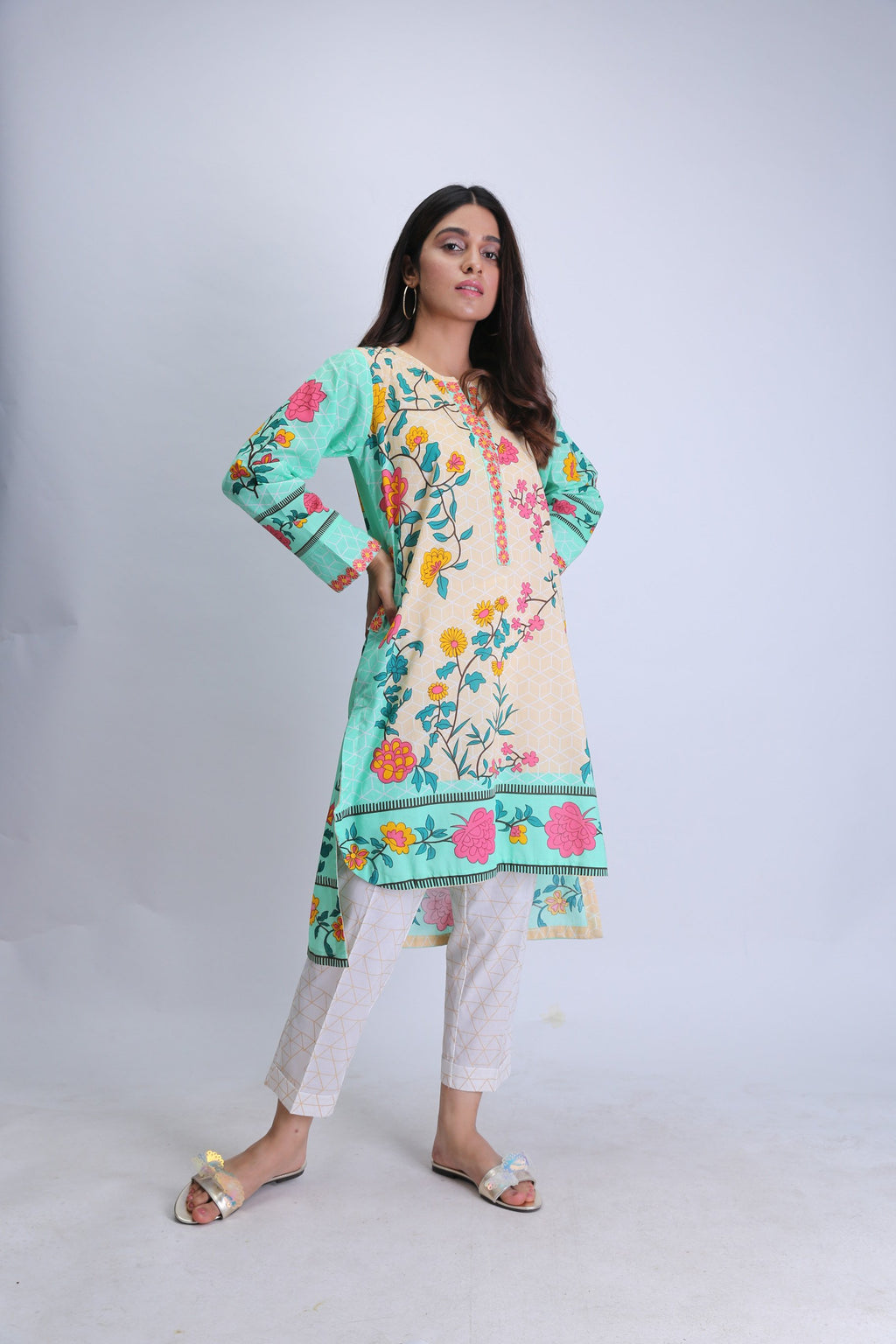 Ladies Casual Kurta | Cotton Cambric Print | Sea Green | LAA-01477