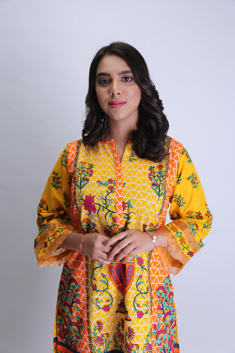 Ladies Casual Kurta | Cotton Cambric Print | Yellow | LAA-01476