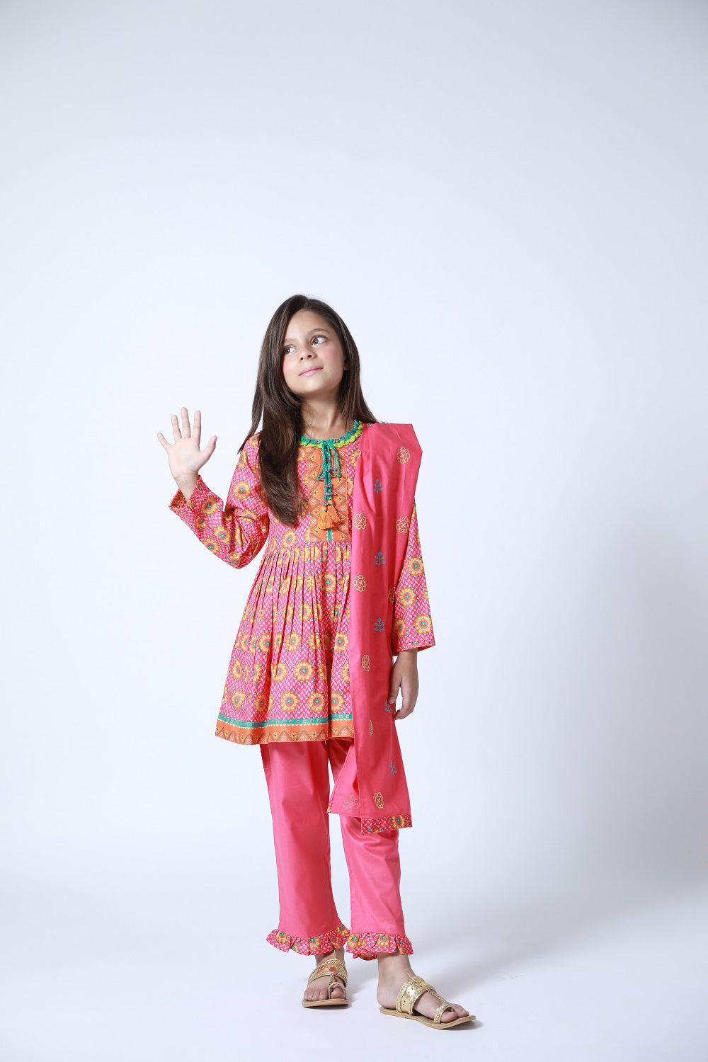 Kids Casual 3 Piece Suit | Cotton Cambric Print | Shocking Pink | KAD-01188